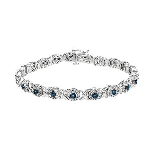 Sterling Silver 1 Carat T.W. Blue & White Diamond XO Bracelet