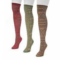 MUK LUKS 3 pkWomen's Fairisle Microfiber Over-The-Knee Socks