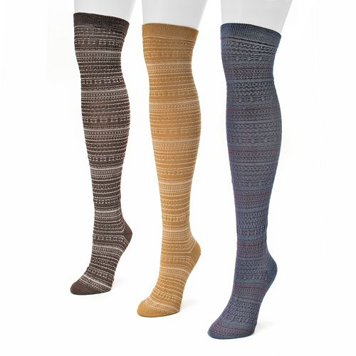 MUK LUKS 3-pk. Women's Fairisle Microfiber Over-The-Knee Socks