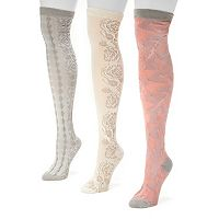MUK LUKS 3 pkWomen's Microfiber Over-The-Knee Socks