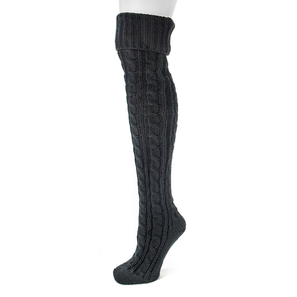 MUK LUKS Women's Cable-Knit Cuffed Over-The-Knee Socks