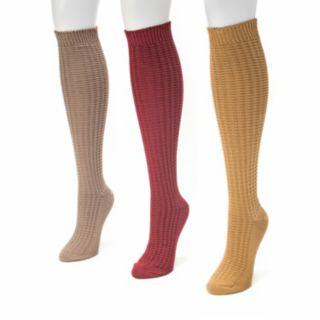 MUK LUKS 3-pk. Women's Waffle Knee High Socks