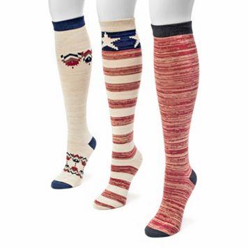 MUK LUKS 3-pk. Women's Americana Knee-High Socks