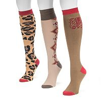 MUK LUKS 3-pk. Women's Love Safari Knee-High Socks