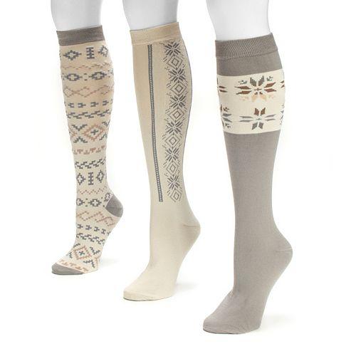MUK LUKS 3-pk. Women's Geometric Knee-High Socks
