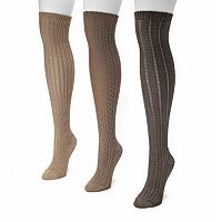 MUK LUKS 3 pkWomen's Ribbed Over-The-Knee Socks