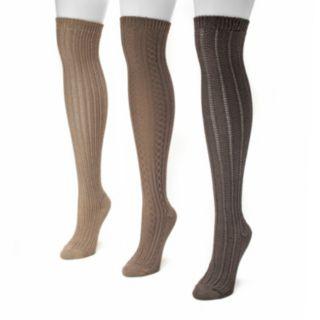MUK LUKS 3-pk. Women's Ribbed Over-The-Knee Socks