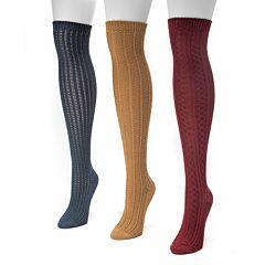 MUK LUKS 3 pkWomen's Ribbed Over-The-Knee Socks