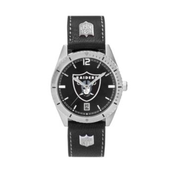 Men's Oakland Raiders Guard Leather Watch