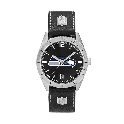Men's Seattle Seahawks Guard Leather Watch