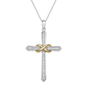 Two Tone Sterling Silver 1/8 Carat T.W. Diamond Cross Pendant Necklace
