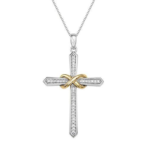 Two Tone Sterling Silver 1/8 Carat T.W. Diamond Cross Pendant Necklace