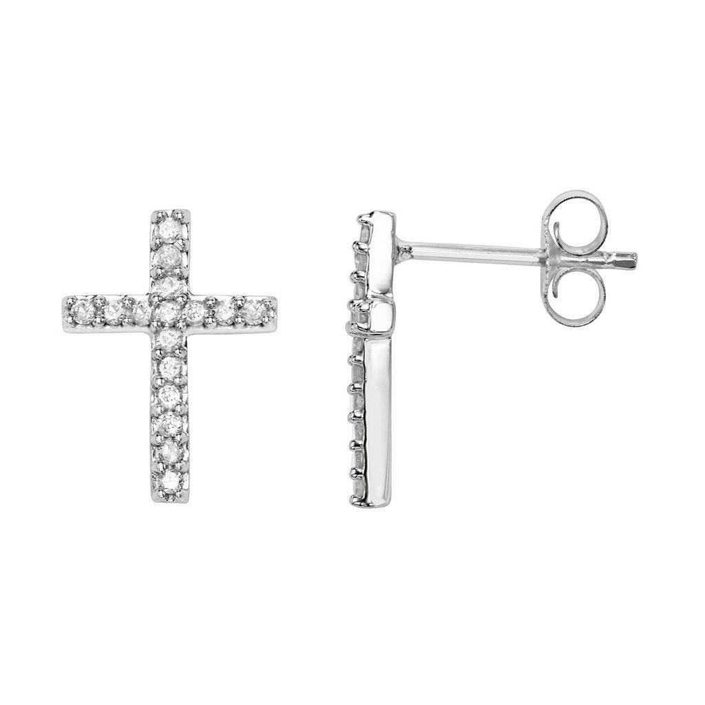 Sterling Silver 1/4 Carat T.W. Diamond Cross Stud Earrings