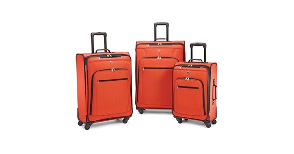 American tourister pop plus 3 piece spinner luggage set for American home choice