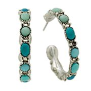 Chaps Silver-Tone Cabochon Hoop Earrings