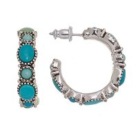 Chaps Small Cabochon Hoop Earrings