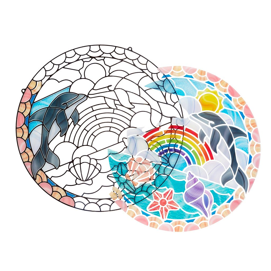 Melissa & Doug Stained Glass Made Easy Dolphins Set