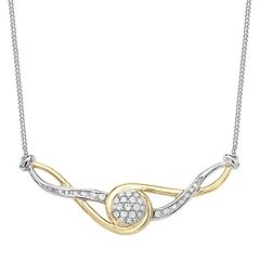 Two Tone Sterling Silver 1/4 Carat T.W. Diamond Necklace