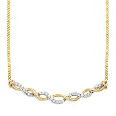 Two Tone Sterling Silver 1/8 Carat T.W. Diamond Necklace