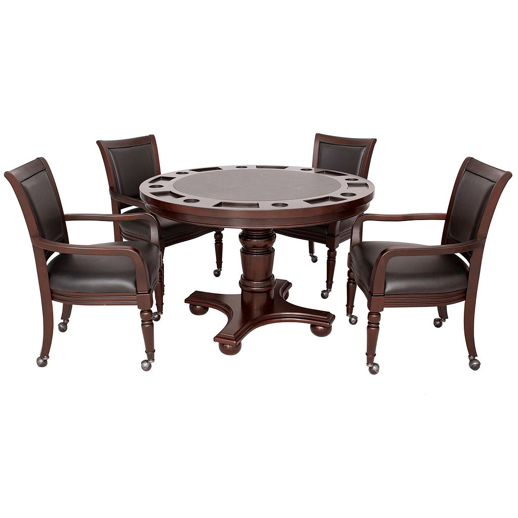 Hathaway Bridgeport 2-in-1 Walnut Finish Poker Game Table Set