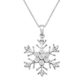 Sterling Silver 1/10 Carat T.W. Diamond Snowflake Pendant