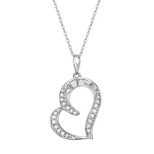 Sterling Silver 1/8 Carat T.W. Diamond Heart Pendant
