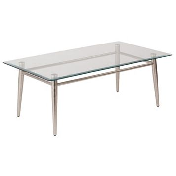 OSP Designs 16-in. Square Metal & Glass Coffee Table