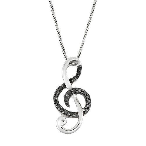 Sterling Silver 1/10 Carat T.W. Black Diamond Treble Clef Pendant