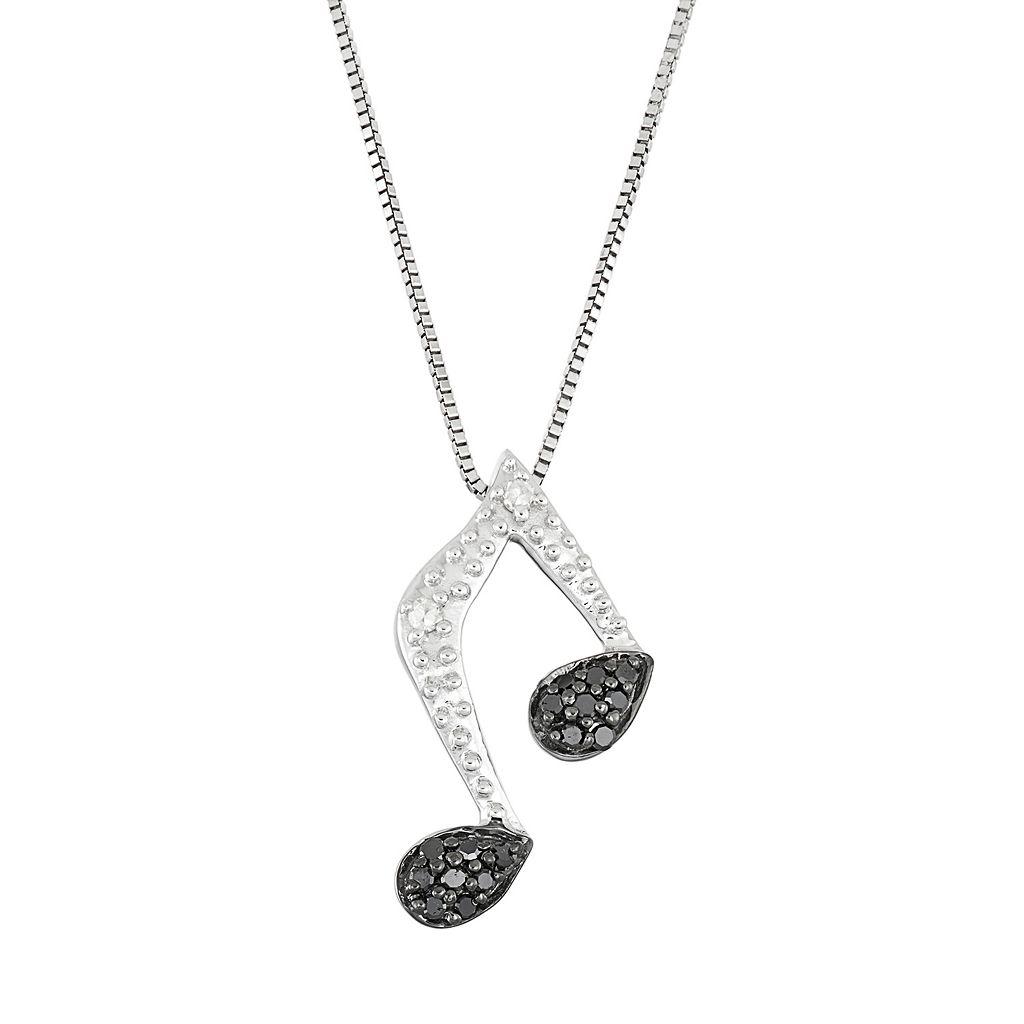 Sterling Silver 1/10 Carat T.W. Black & White Diamond Music Note Pendant