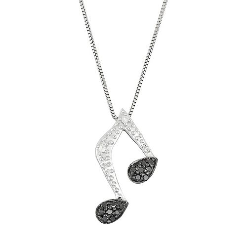 Sterling Silver 1/10 Carat T.W. Black & White Diamond Music Note Pendant