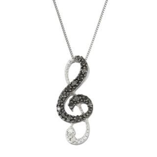 Sterling Silver 1/10 Carat T.W. Black & White Diamond Treble Clef Pendant