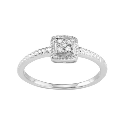 Sterling Silver Diamond Accent Twist Halo Ring