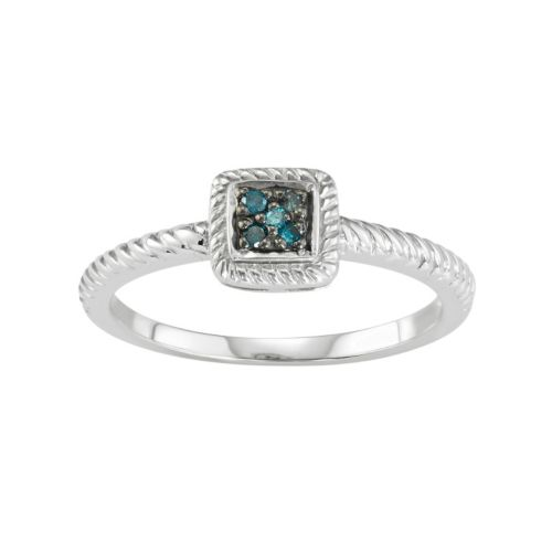 Sterling Silver Blue Diamond Accent Twist Halo Ring