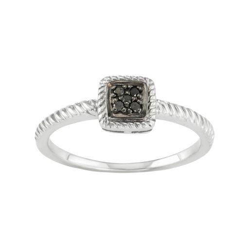 Sterling Silver Black Diamond Accent Twist Halo Ring