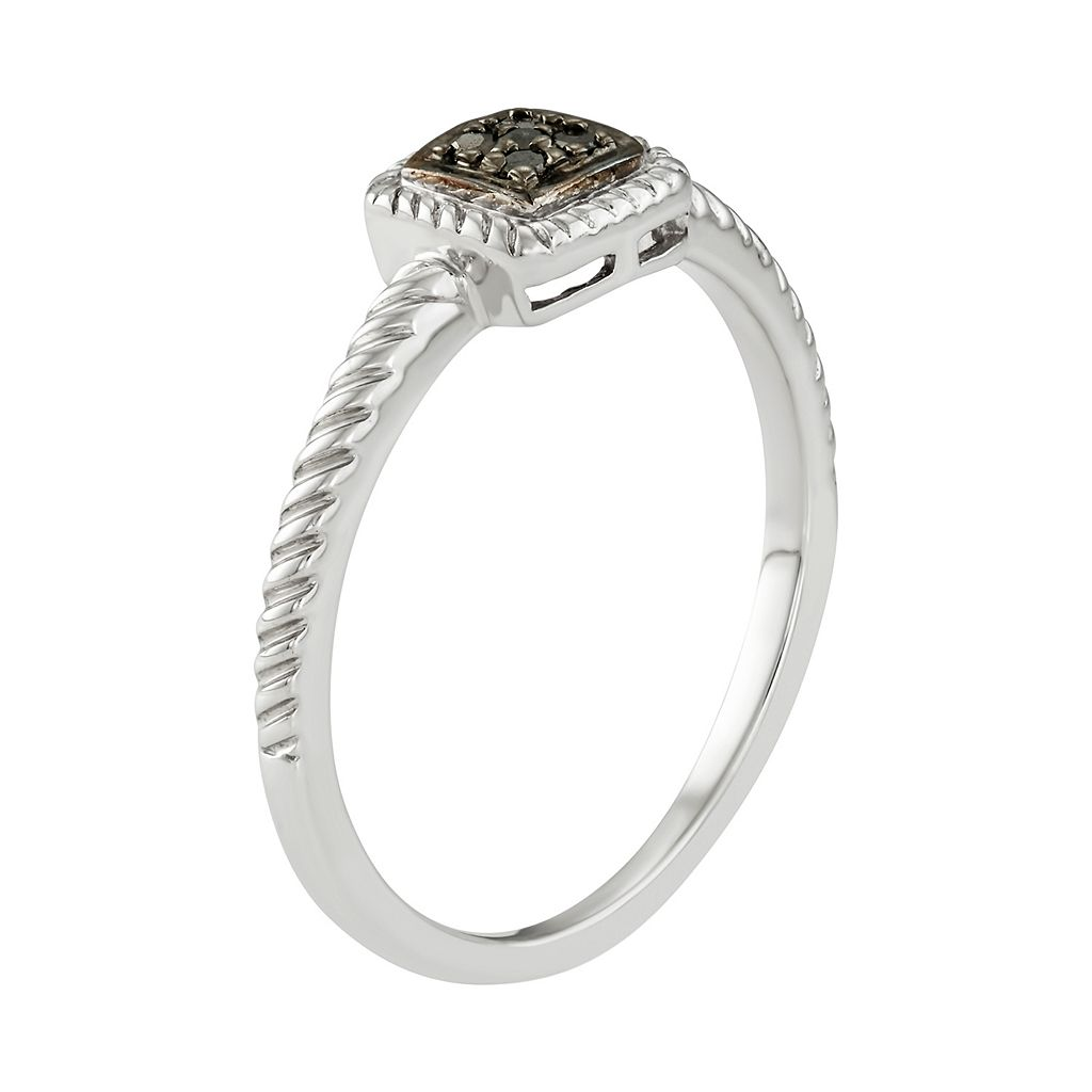 Sterling Silver Black Diamond Accent Twist Halo Ring