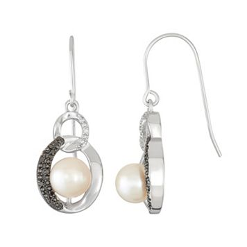 Sterling Silver Freshwater Cultured Pearl Circle Drop Earrings