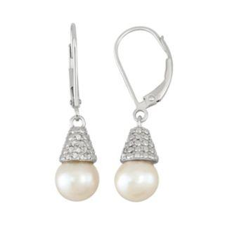 Freshwater Cultured Pearl & 1/10 Carat T.W. Diamond Sterling Silver Drop Earrings