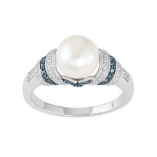 Freshwater Cultured Pearl & Blue Diamond Accent Sterling Silver Striped Ring