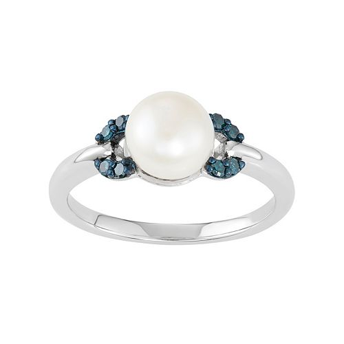 Freshwater Cultured Pearl & Blue Diamond Accent Sterling Silver Ring
