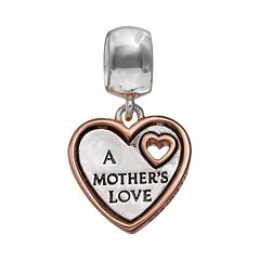 Individuality Beads Sterling Silver & 14k Rose Gold Over Silver 'Mother's Love' Heart Charm