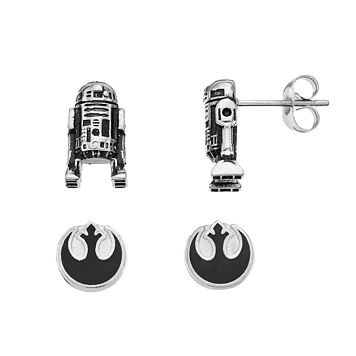 Star Wars Stainless Steel Rebel Alliance Symbol & R2-D2 Stud Earring Set