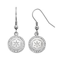 Star Wars Stainless Steel Imperial Symbol Crystal Drop Earrings
