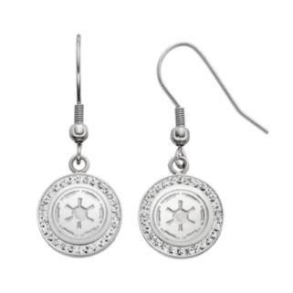 Star Wars Stainless Steel Imperial Symbol Crystal Drop Earrings