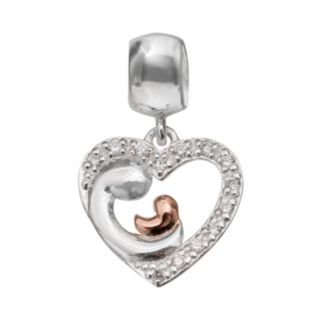 Individuality Beads Cubic Zirconia Sterling Silver & 14k Rose Gold Over Silver Motherly Love Charm