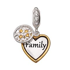 Individuality Beads Sterling Silver & 14k Gold Over Silver 'Family' Heart Charm