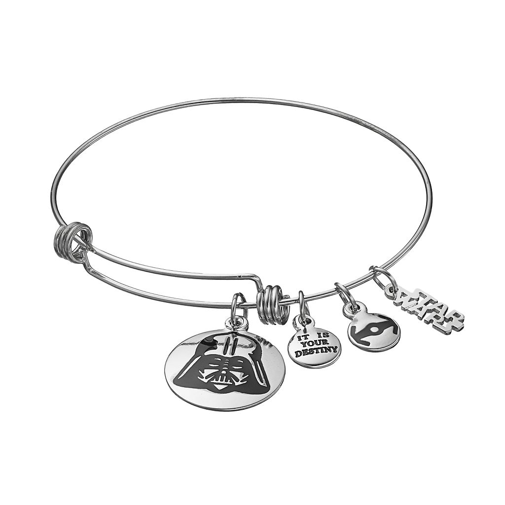 Star Wars Stainless Steel Darth Vader Charm Bangle Bracelet