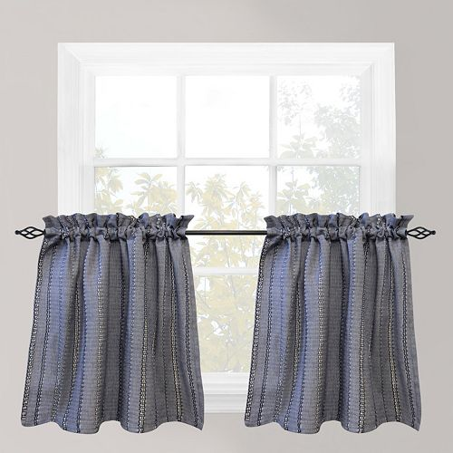Park B. Smith Eyelet Chambray Tier Kitchen Window Curtain Set