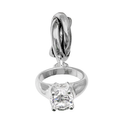 Individuality Beads Sterling Silver Cubic Zirconia Engagement Ring Charm