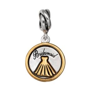"""Individuality Beads Sterling Silver & 14k Gold Over Silver """"Bridesmaid"""" Charm"""