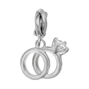Individuality Beads Sterling Silver Cubic Zirconia Engagement Ring Set Charm